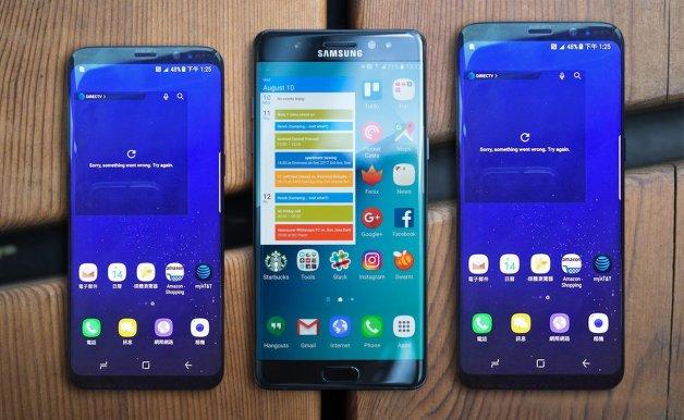 foto comparativa del tamaño de pantalla del Samsung Galaxy S8