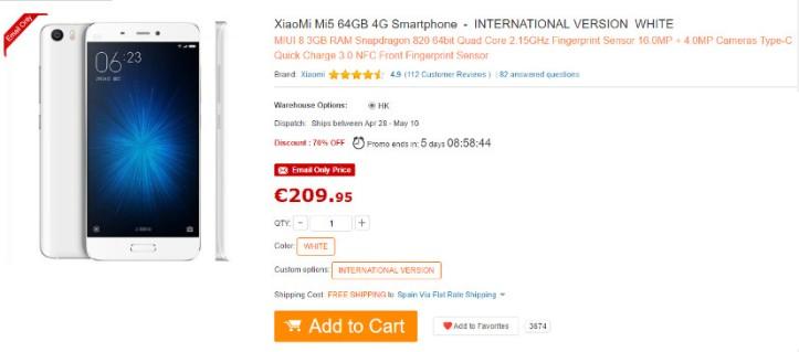 oferta gearbest Xiaomi Mi5