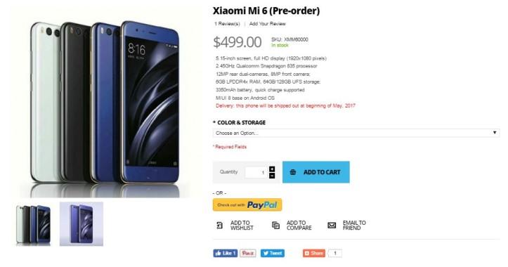 compra Xiaomi Mi6 Giztop